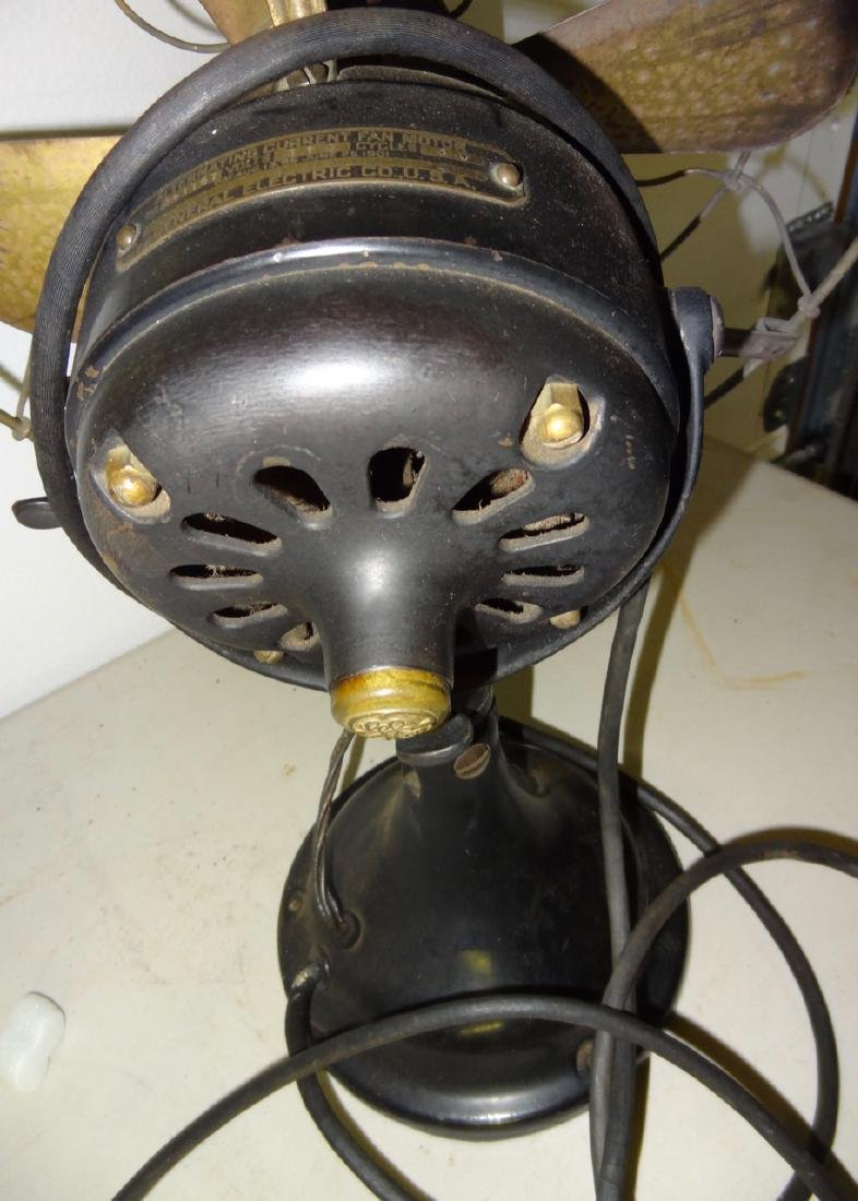 Two Early Electric Oscillating Brass Fans - 3