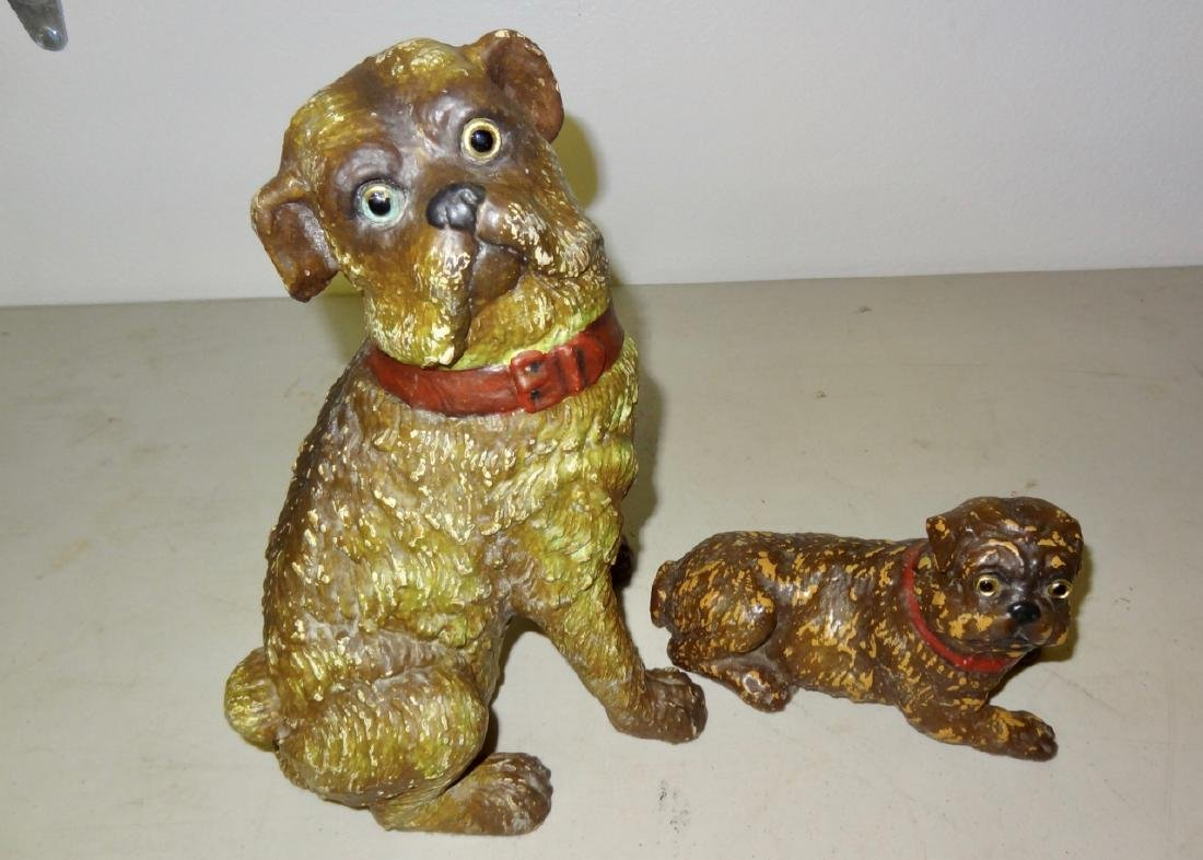 Two Early Composition Dogs w/Glass Eyes