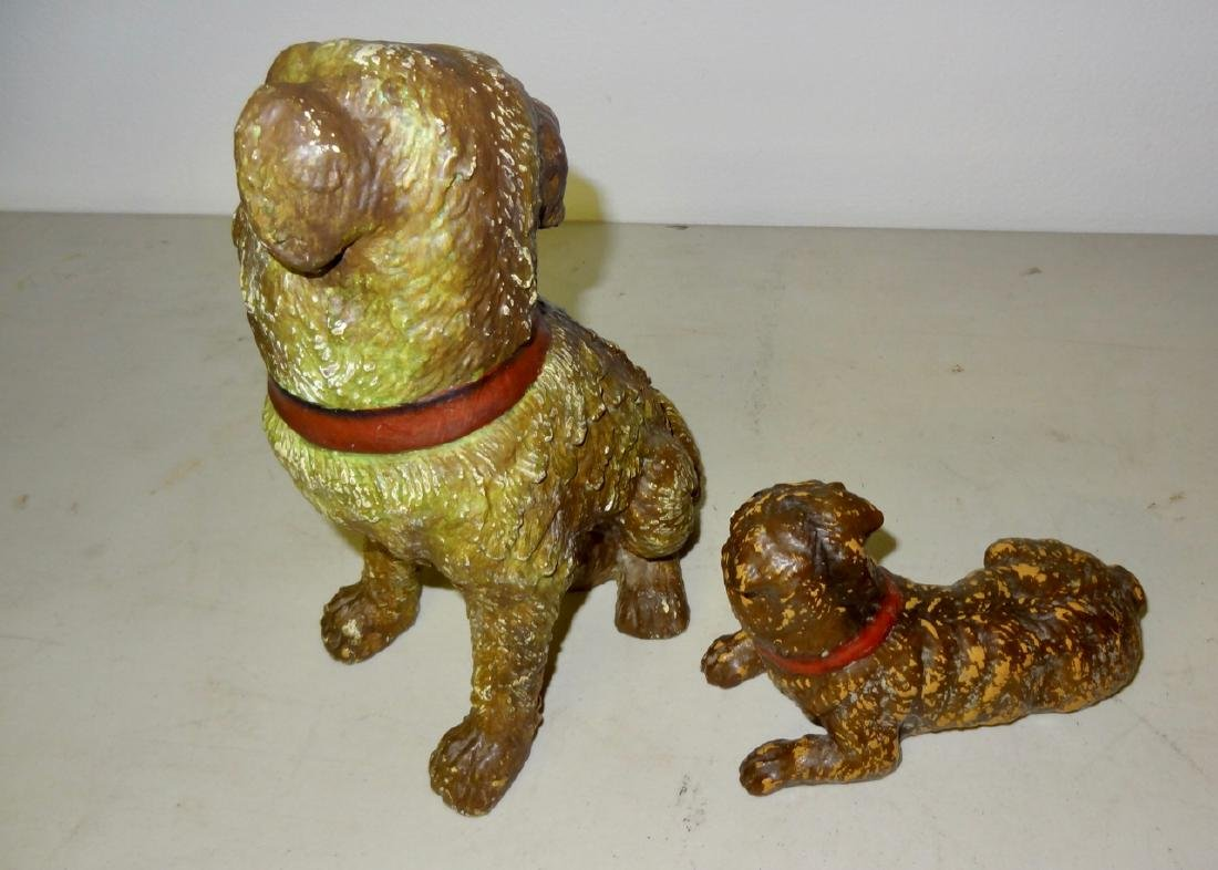 Two Early Composition Dogs w/Glass Eyes - 2