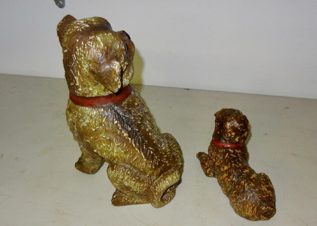 Two Early Composition Dogs w/Glass Eyes - 3