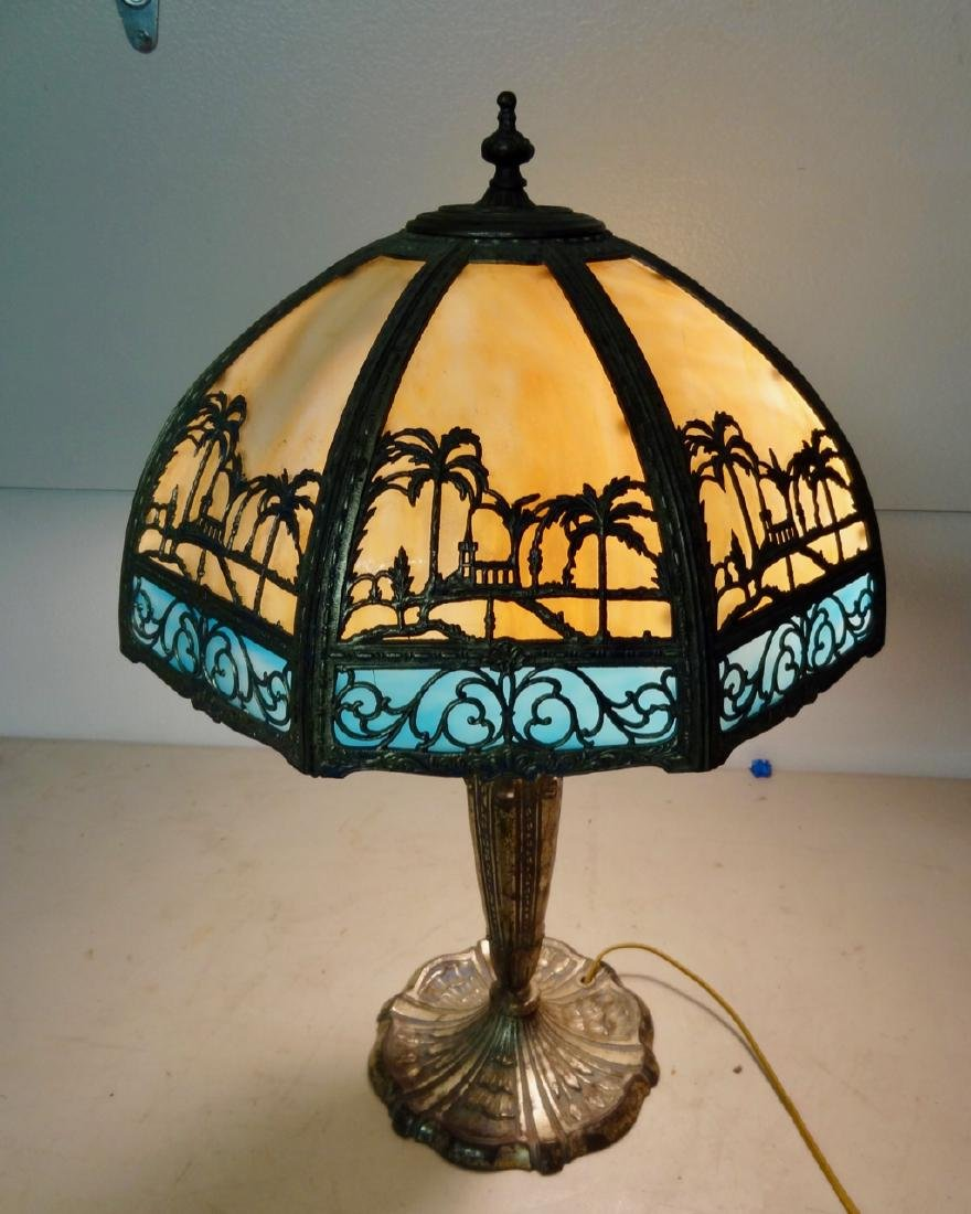 Carmel Slag Table Lamp w/ Palm Tree Design
