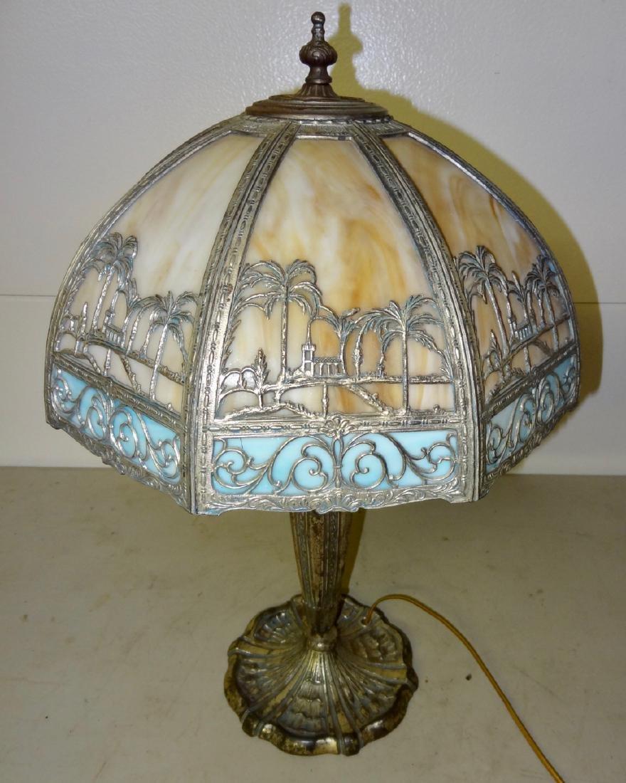 Carmel Slag Table Lamp w/ Palm Tree Design - 2