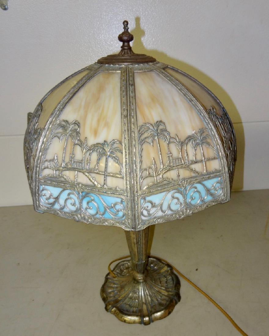 Carmel Slag Table Lamp w/ Palm Tree Design - 3