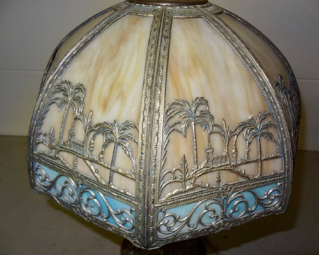Carmel Slag Table Lamp w/ Palm Tree Design - 4