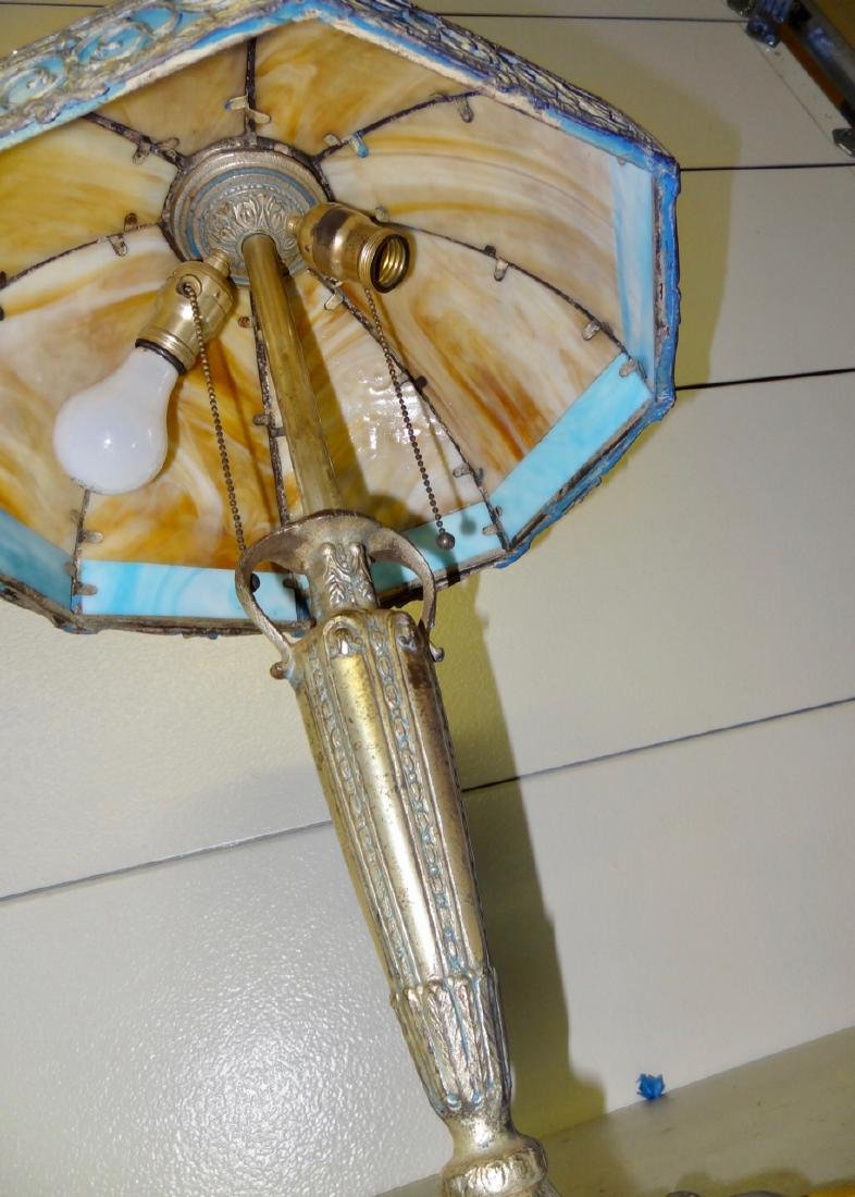 Carmel Slag Table Lamp w/ Palm Tree Design - 5