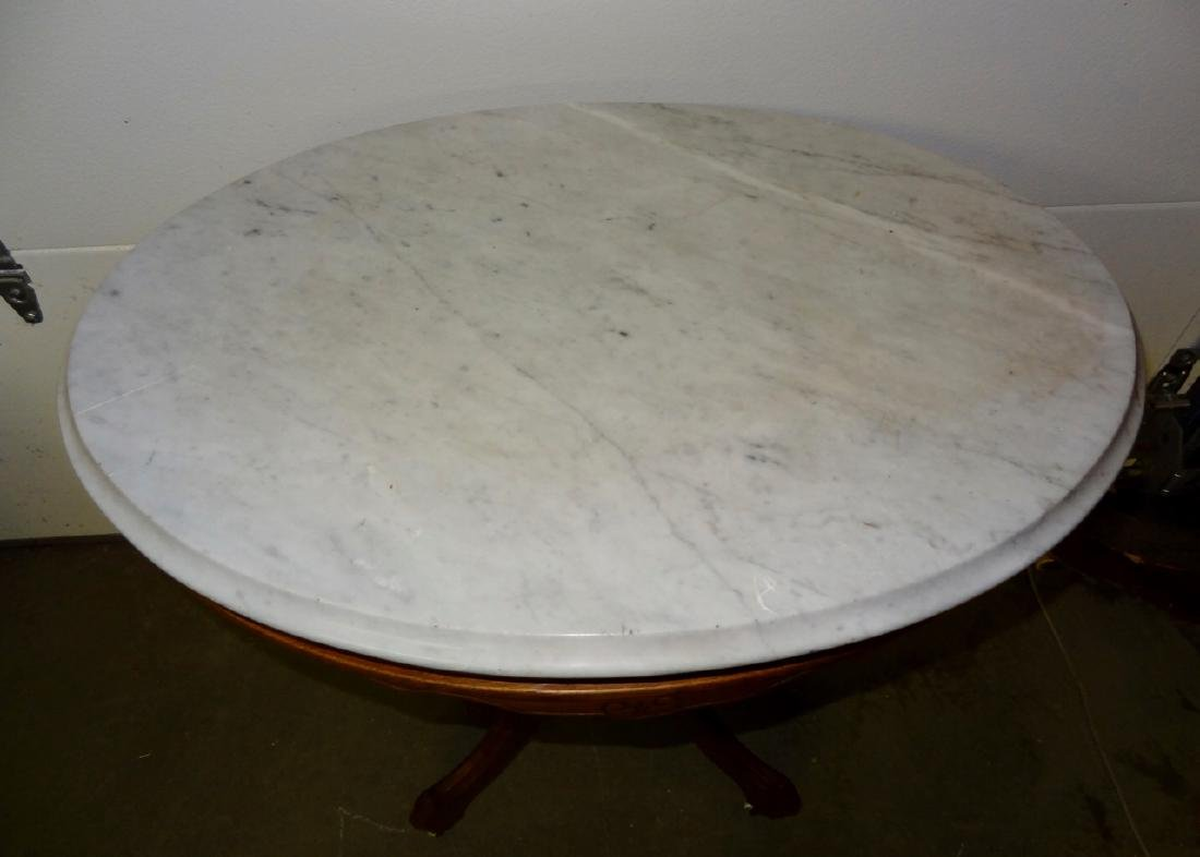 Victorian Marble Top Oval Table - 3