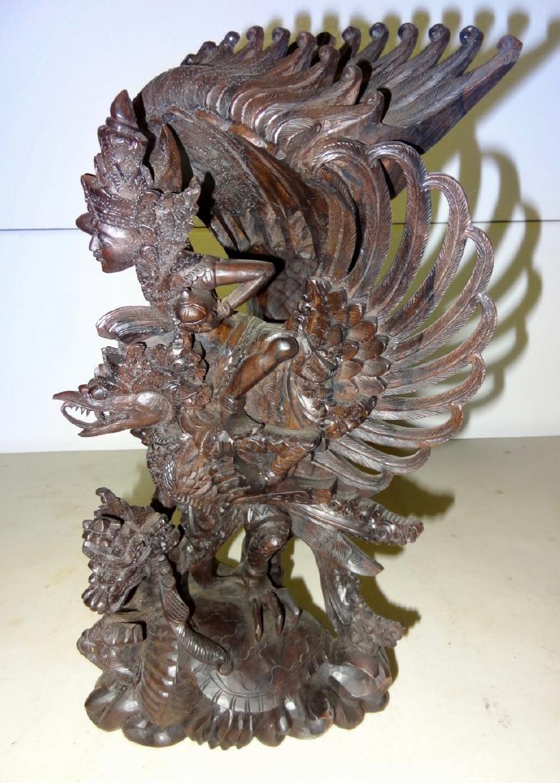 "Large Oriental 15"" Wood Carving - 2"