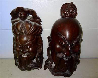 2 Large Oriental Cared Masks