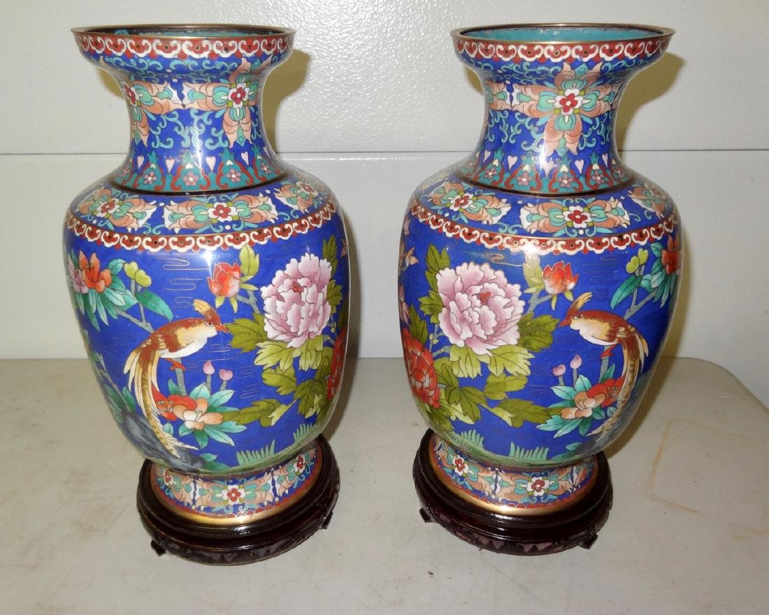 2 Large Cloisonne Vases on Stands