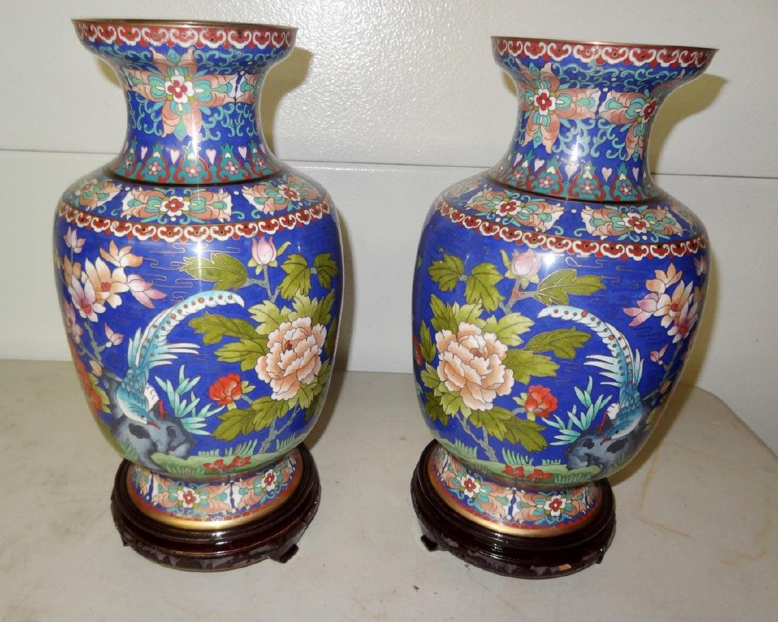 2 Large Cloisonne Vases on Stands - 2