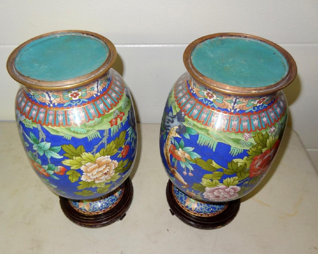 2 Large Cloisonne Vases on Stands - 3