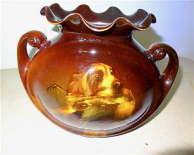 Art Pottery Vase wHunting Dog Bird
