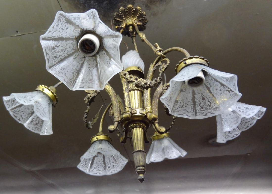 6 Light Bronze Fixture w/Acid Etched Shade