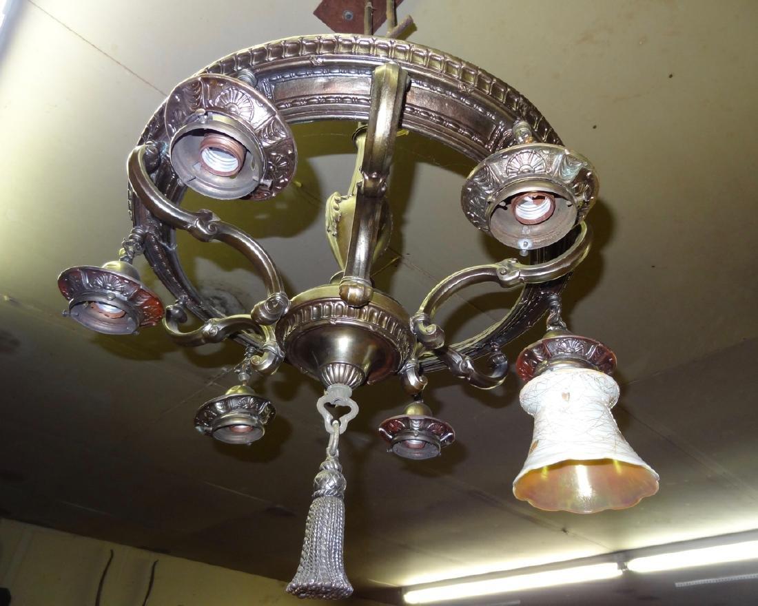 Bronze Light Fixture w/Quezal Shades