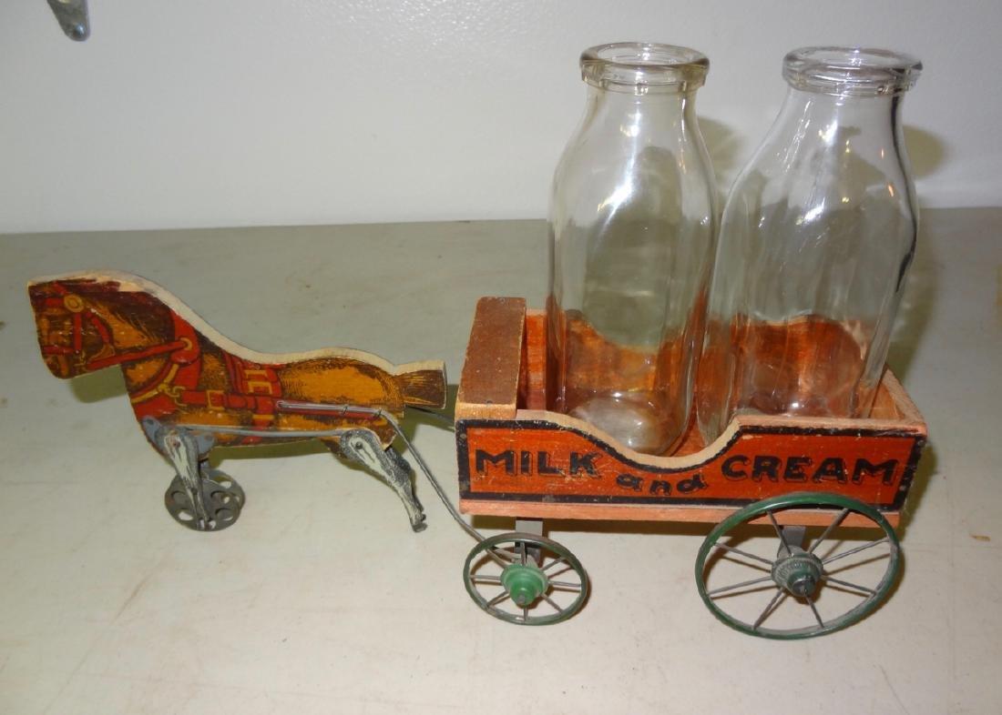 Toy Cream & Milk Horse Drawn Cart