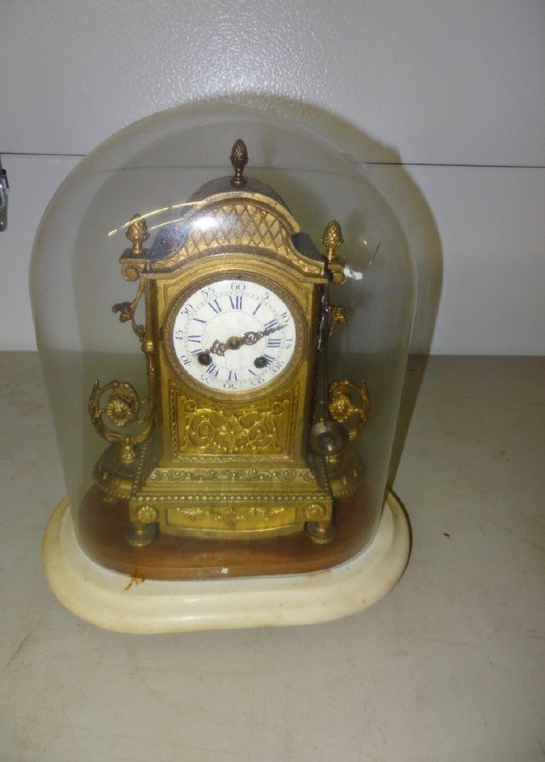 Glass Domed French Bronze Mantle Clock