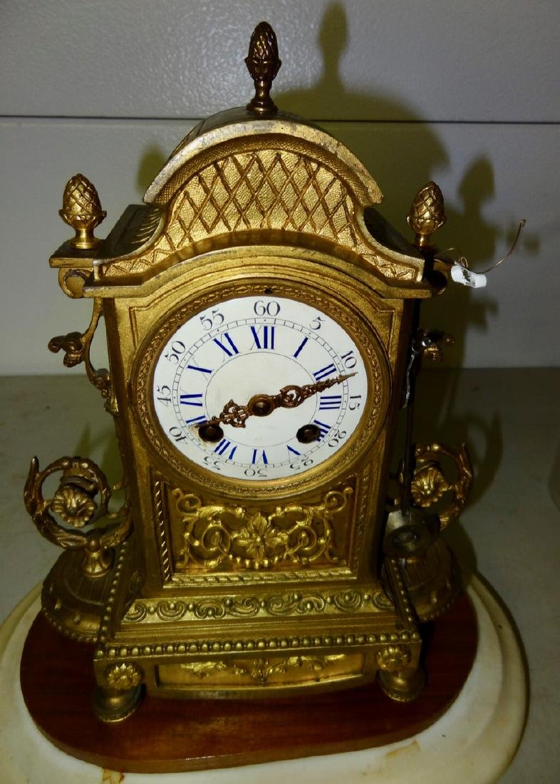Glass Domed French Bronze Mantle Clock - 2