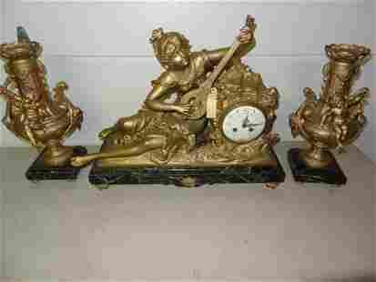 Ornate 3 Pc French Clockset