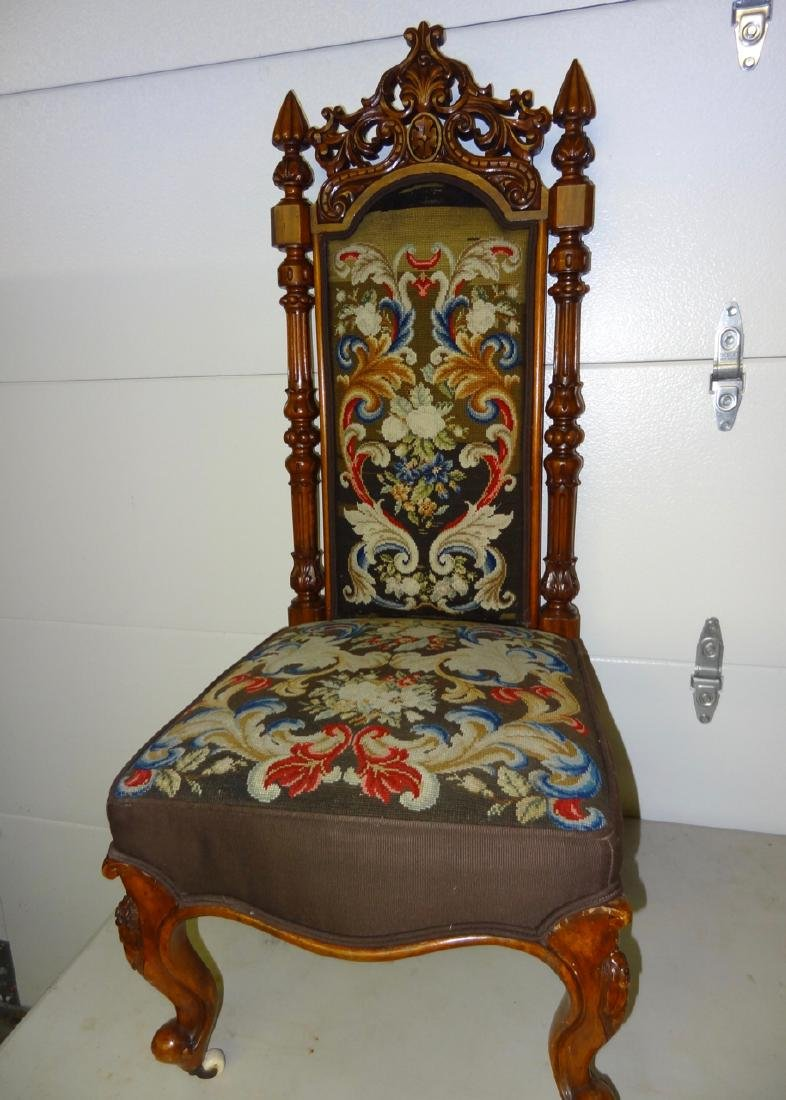 Tall Back Needle Point Victorian Chair