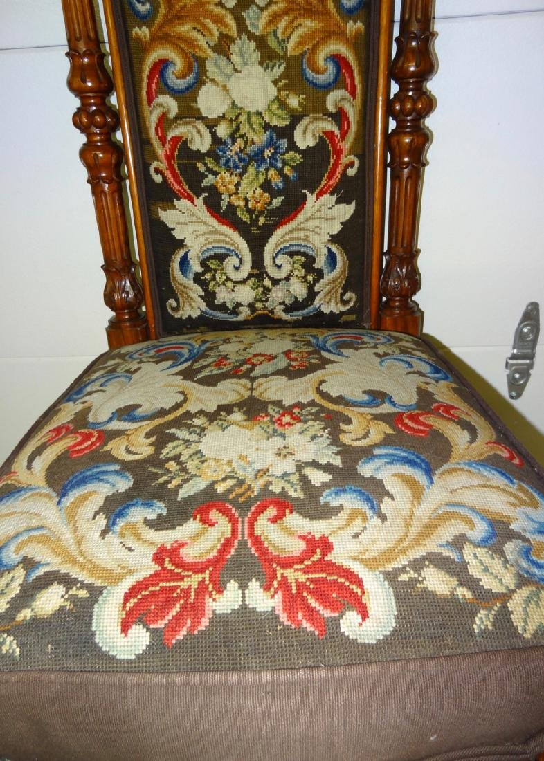 Tall Back Needle Point Victorian Chair - 3