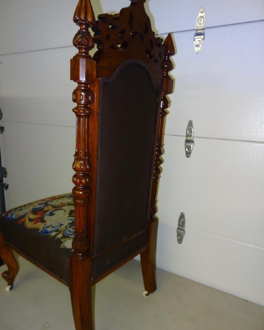 Tall Back Needle Point Victorian Chair - 4