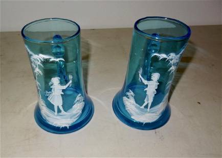 2 Mary Gregory Blue Handled Mugs