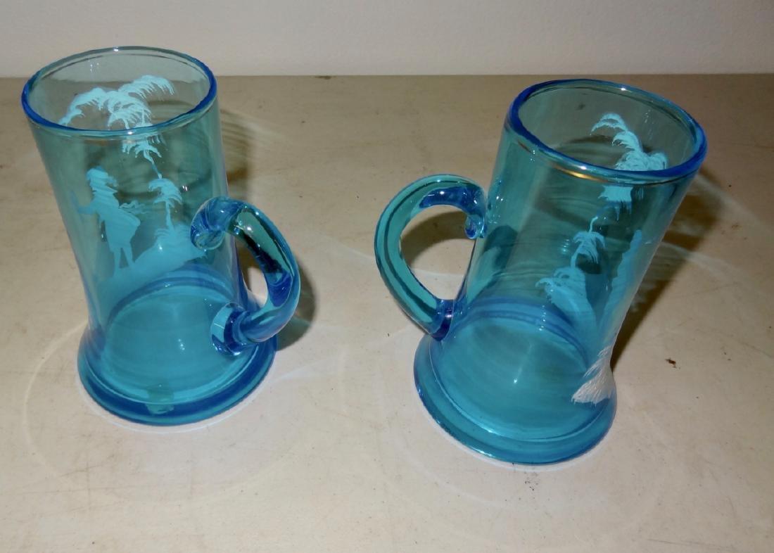 2 Mary Gregory Blue Handled Mugs - 2