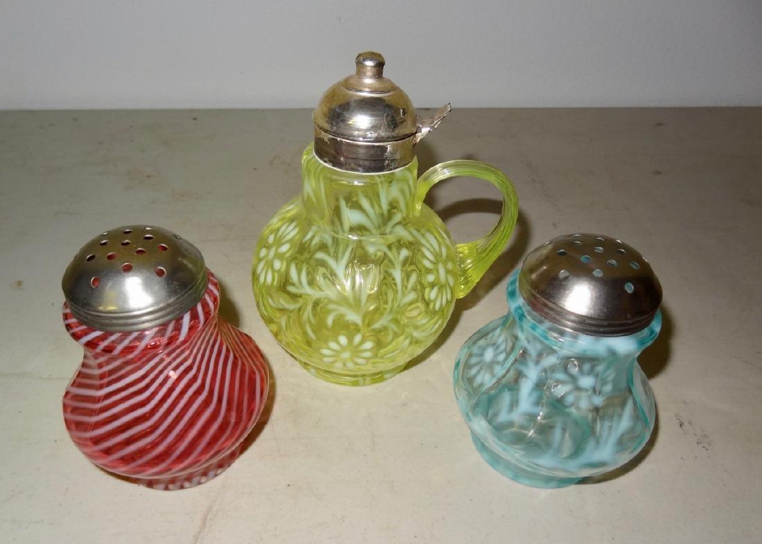 3 Opalescent Victorian Glass