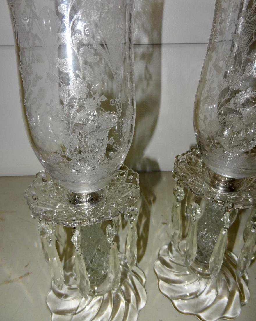 Pair of Bacarrat or Fostoria Hurricane Lamps - 3