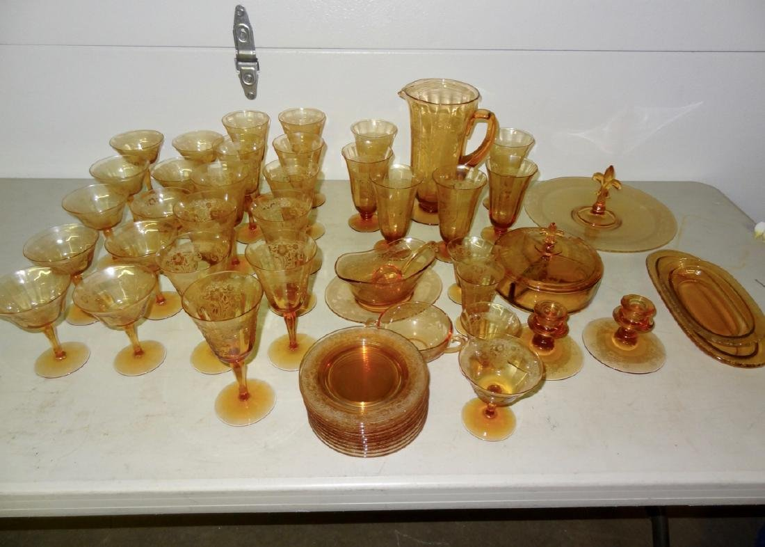 Over 50 Pcs of  Amber Cambridge Glass