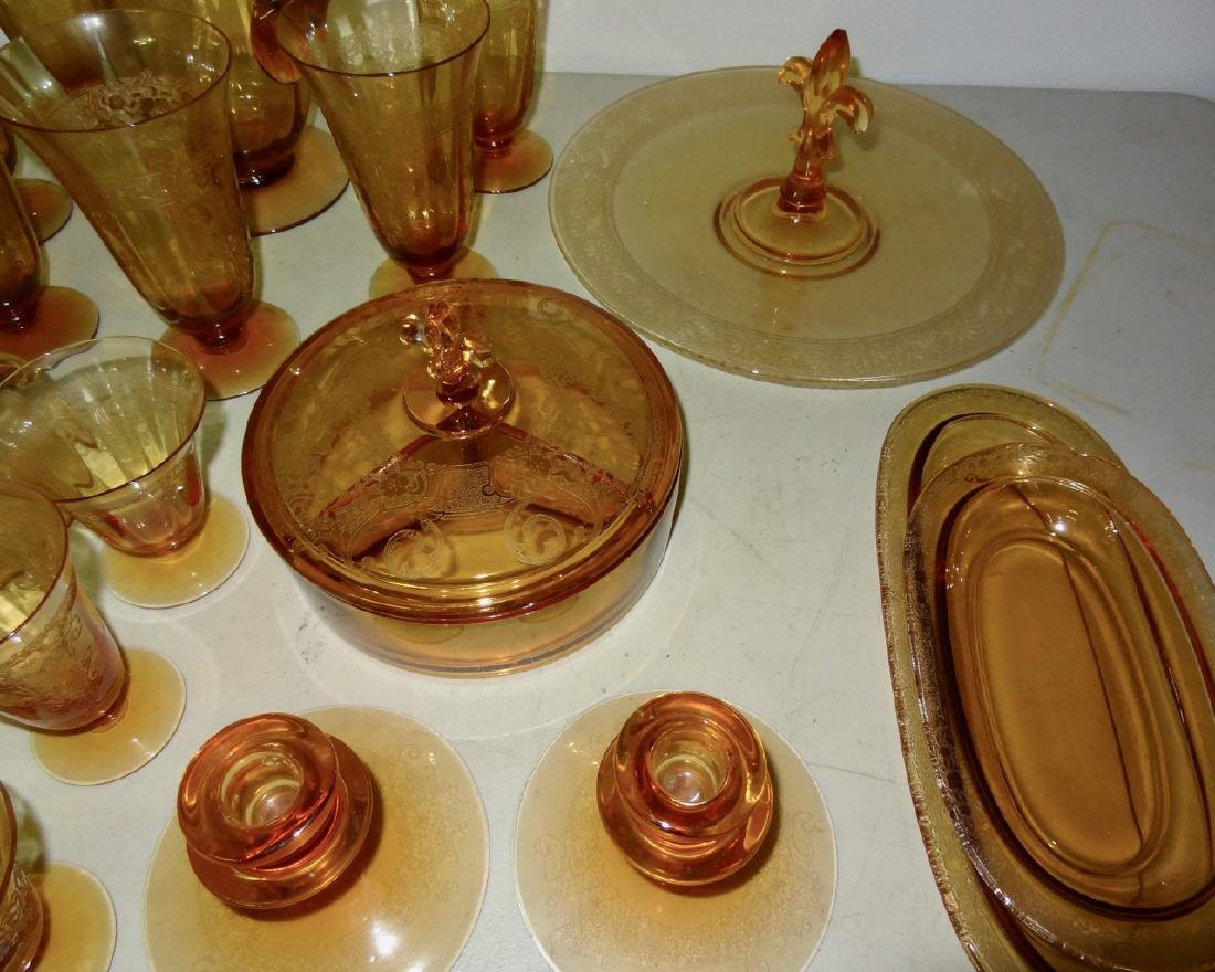 Over 50 Pcs of  Amber Cambridge Glass - 5