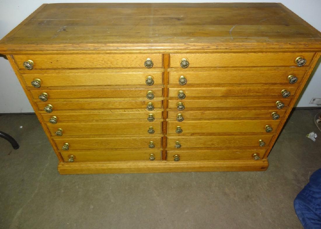 16 Drawer Oak Cabinet