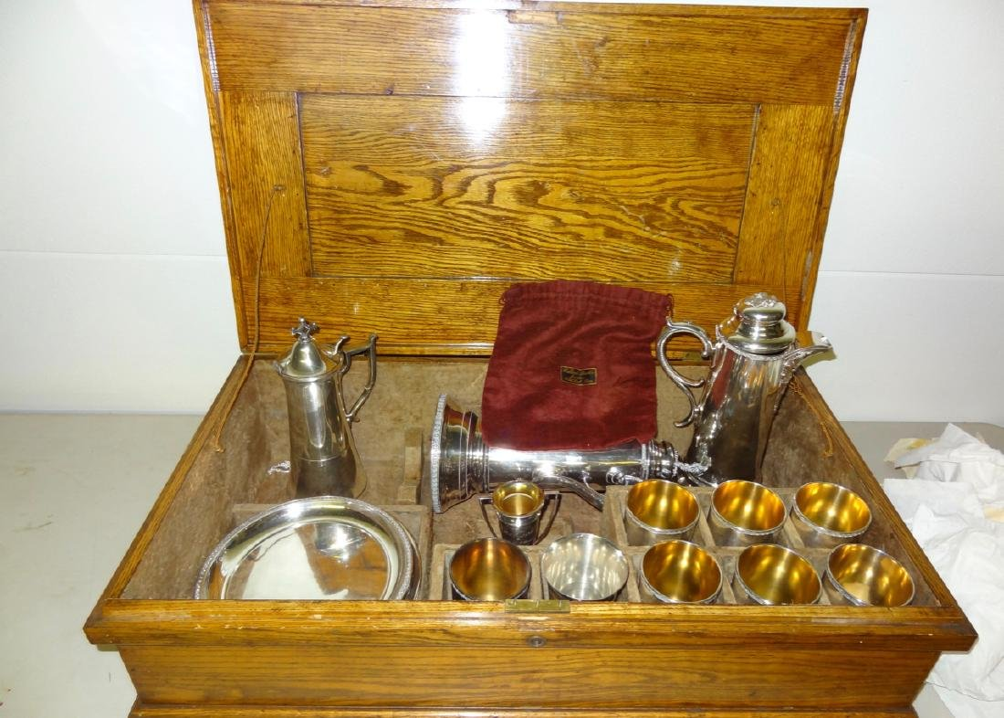Early Silverplate Communion Set