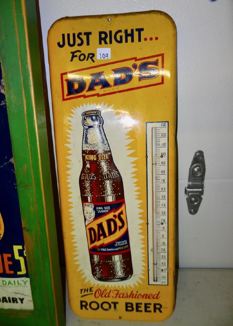 Dad's Rootbeer Thermometer & Green Spot Metal Pop Sign - 2