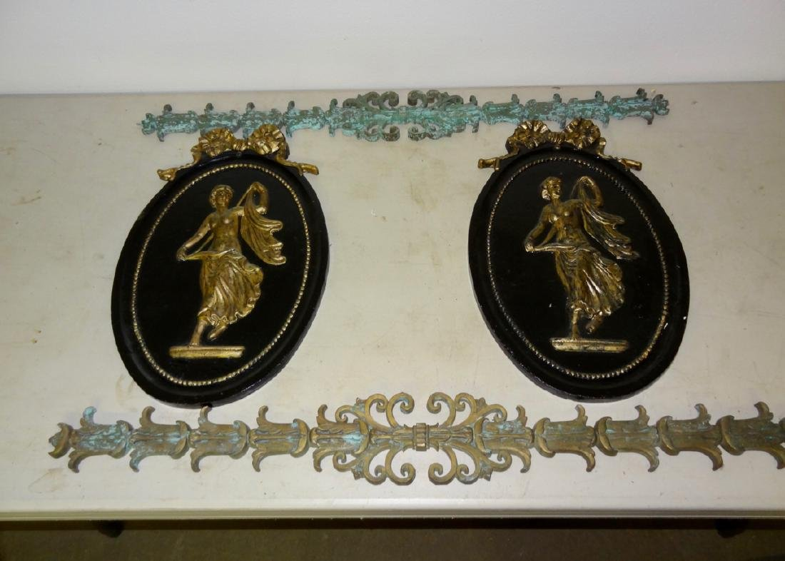 Large Cast Iron Oval Plaques & Bronze Trim