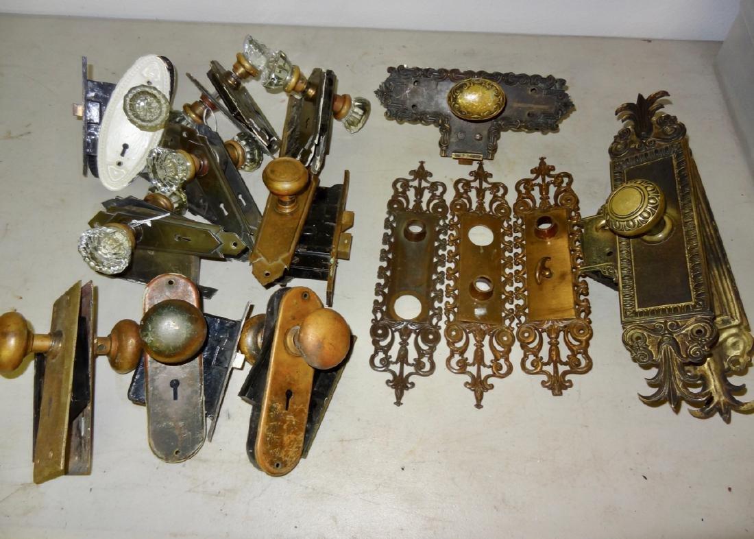 Box of 12 Fancy Brass & Glass Door Knobs