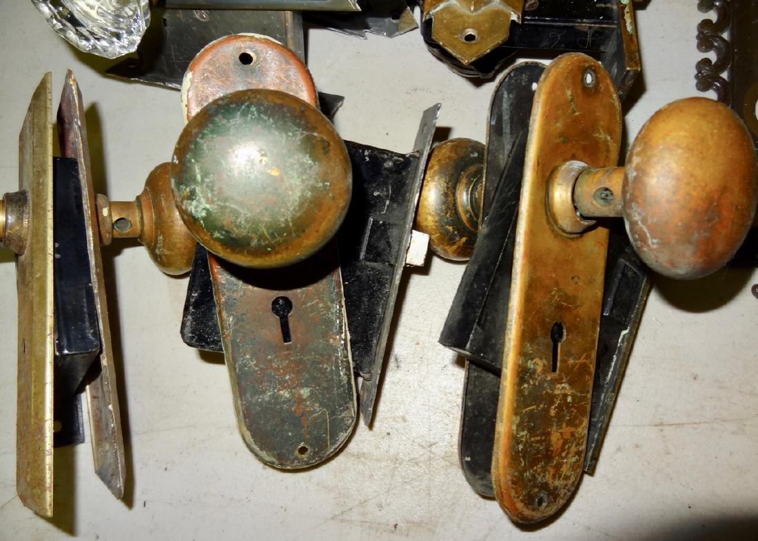Box of 12 Fancy Brass & Glass Door Knobs - 5
