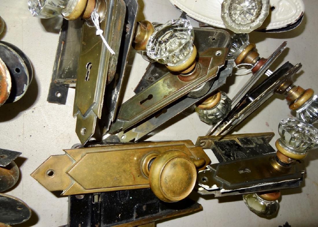 Box of 12 Fancy Brass & Glass Door Knobs - 6