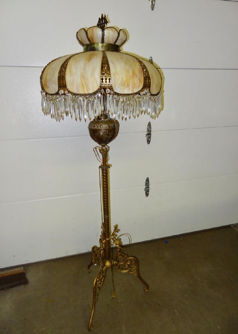 Ornate Carmel Slag Floor Lamp W/Brass Detail