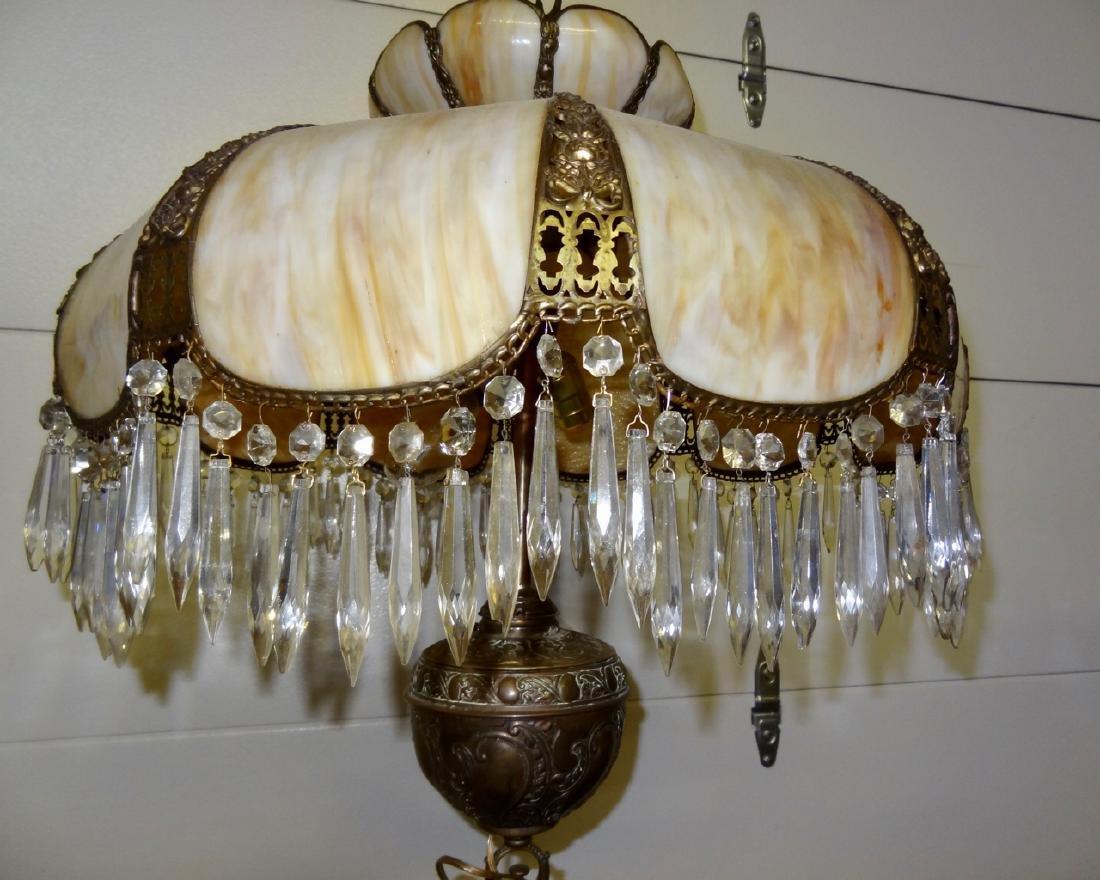 Ornate Carmel Slag Floor Lamp W/Brass Detail - 3