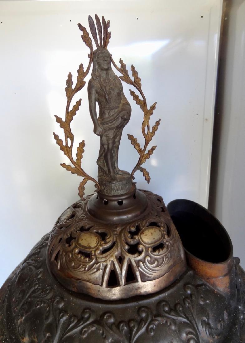 Ornate Round Oak Cast Iron Stove - 2