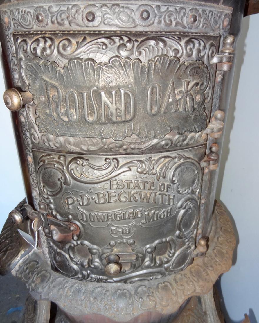 Ornate Round Oak Cast Iron Stove - 3