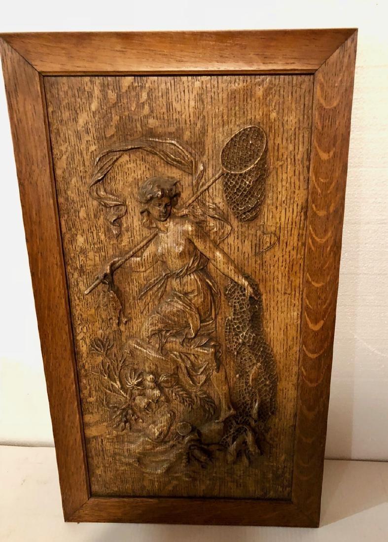 Carved Oak Framed Fisher Woman