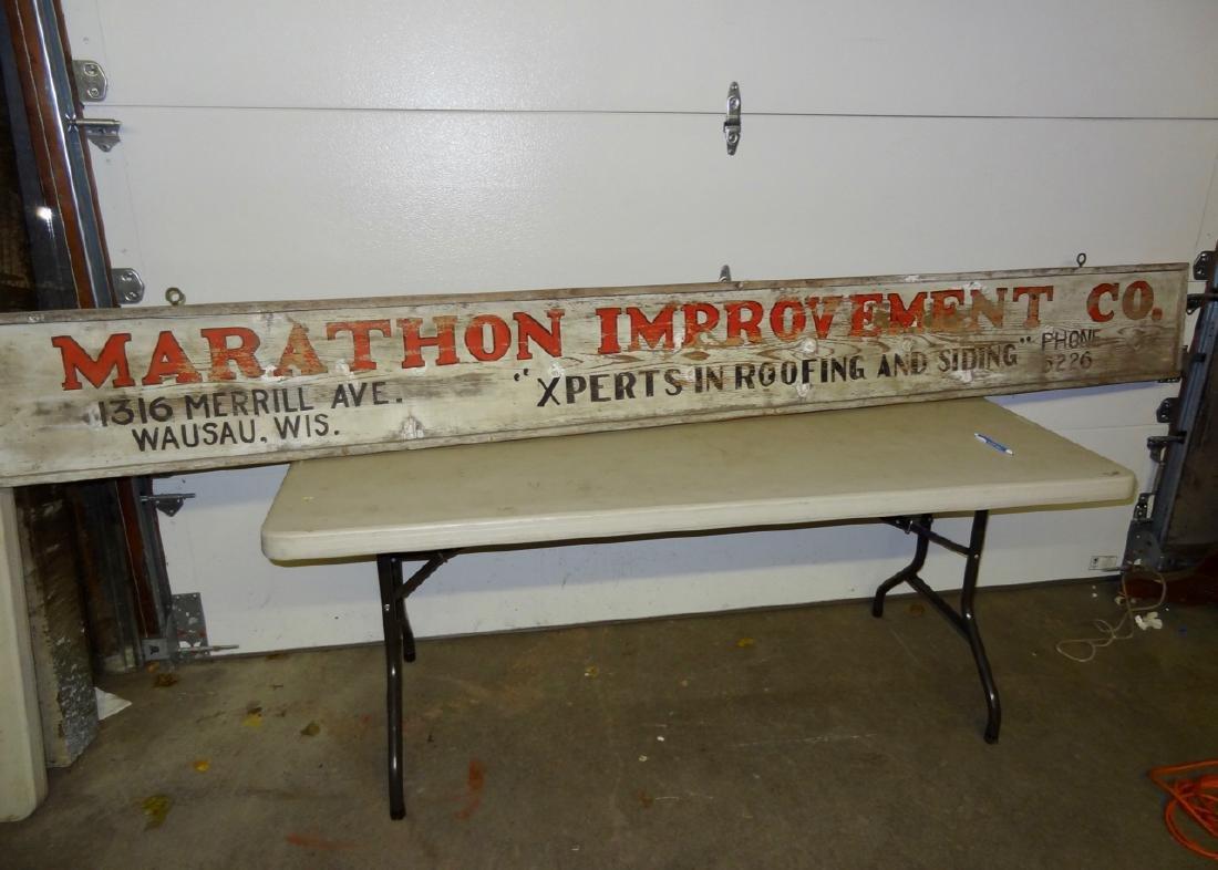 Marathon Improvement Co. Wood Sign