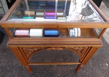 Rare Beveled Glass Ribbon Showcase