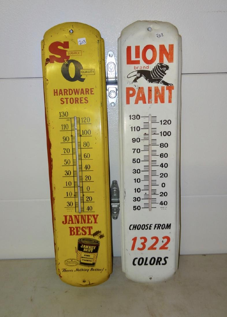 2 Tin Advertising Thermometers
