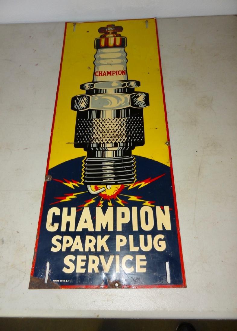 Champion Spark Plug Service Sign Tin