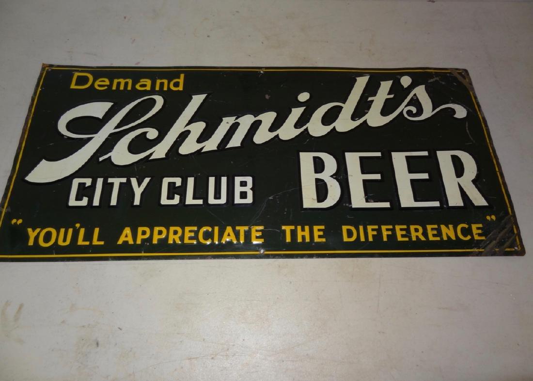 Schmidt's City Club Beer Tin Advertisement