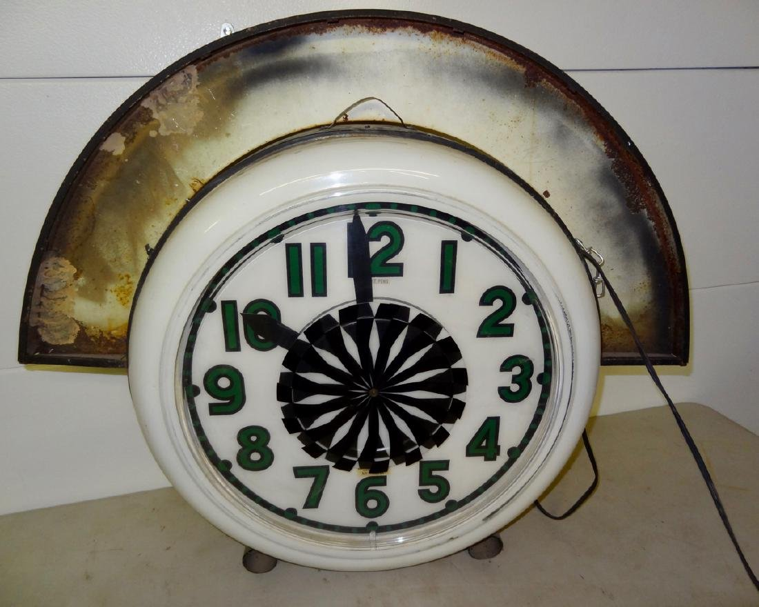Large Electric Neon Clock Co. Advertising Spinner Clock