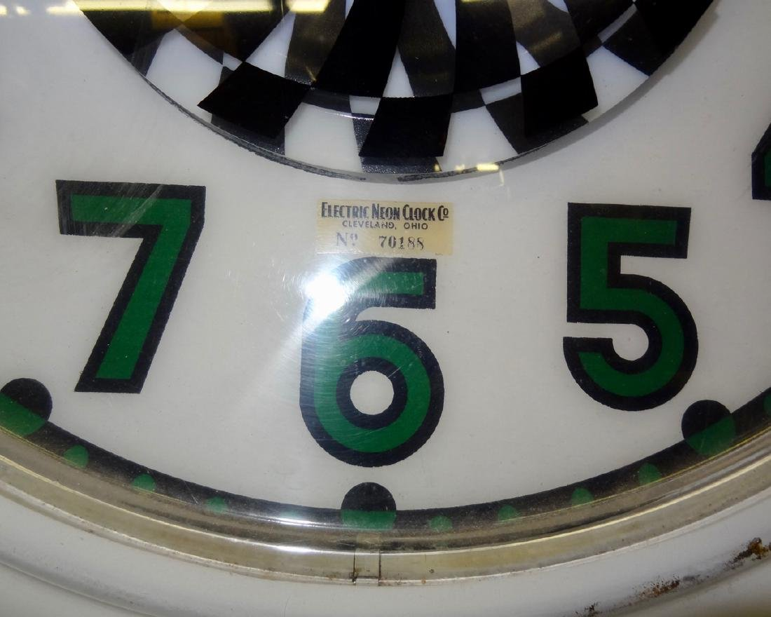Large Electric Neon Clock Co. Advertising Spinner Clock - 2